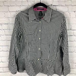 RALPH LAUREN Button Down Shirt | Gingham Peplum